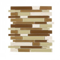 Jeffrey Court Desert Sunset Pencil 12 in. x 12 in. Glass/Beige Marble Mosaic Wall Tile