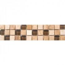MS International Glass/Stone Border 3 in. x 12 in. Floor & Wall Tile (1 Ln. Ft. per piece)