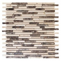 Jeffrey Court English Stone Emperador 11 in. x 12.25 in. Travertine and Marble Mosaic Wall Tile