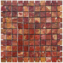 MS International 12 in. x 12 in. Red Polished Onyx Mesh-Mounted Mosaic Tile
