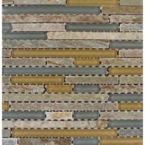 MS International 12 in. x 12 in. Golden Fields Interlocking Glass & Stone Mesh-Mounted Mosaic Tile