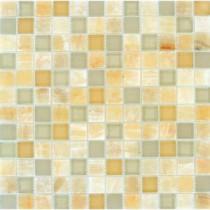 MS International Honey Ivory Onyx Blend 1 in. x 1 in. Glass Wall Tile