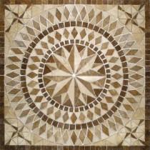 MS International Del Sol 36 in. x 36 in. Brown Travertine Medallion Mosaic Tile