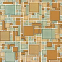 MS International Mocha Cream Pattern 12 in. x 12 in. Magic Mosaic Glass Floor and Wall Tile
