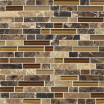 Daltile Stone Radiance Butternut Emperador 11-3/4 in. x 12-1/2 in. x 8 mm Glass and Stone Mosaic Blend Wall Tile