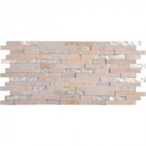 MS International Harvest Moon Interlocking 8 in. x 18 in. Glass/Stone Mesh-mounted Wall Tile
