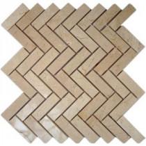 Splashback Tile Crema Marfil Herringbone 12 in. x 12 in. Marble Floor and Wall Tile