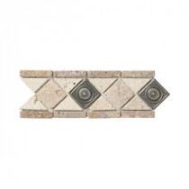 Jeffrey Court Noce Chiaro Pewter Scudo 4 in. x 12 in. Travertine Wall & Floor Tile