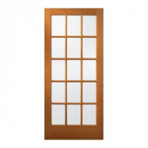 15 Lite Unfinished Wood Slab Entry Door