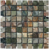 MS International Verde Amazonia 1 in. x 1 in. Mosaic Tumbled Marble Floor & Wall Tile