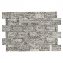 Jeffrey Court 11-3/8 in. x 12-3/4 in. Roman Blocks Grey Marble Mosaic Wall Tile