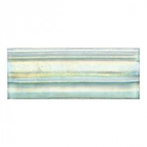 Daltile Cristallo Glass Aquamarine 3 in. x 8 in. Glass Chair Rail Accent Wall Tile