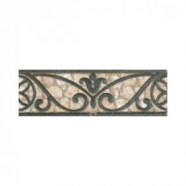 Daltile Fashion Accents Wrought Iron/Beige 3 in. x 8 in. Ceramic Listello Wall Tile