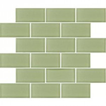 MS International Mint Green Subway 2 in. x 4 in. Glass Mesh-Mounted Wall Tile
