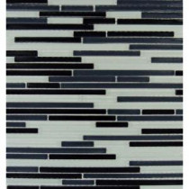 MS International 12 in. x 12 in. Black and White Bamboo Glass Mesh-Mounted Mosaic Tile