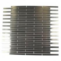 Splashback Tile Metal Silver Stainless Steel Stick 12 in. x 12 in. MetalMosaic Floor and Wall Tile