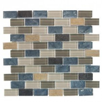 Jeffrey Court Heritage Ocean Brick 13.375 in. x 11.75 in. Glass and Quartz Mosaic Wall Tile