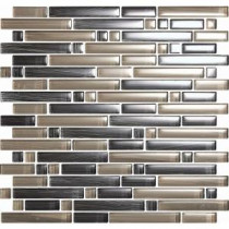 EPOCH Brushstrokes Grigio-1504-S Strips Mosaic Glass 12 in. x 12 in. Mesh Mounted Tile (5 Sq. Ft./Case)