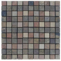 MS International 1 In. x 1 In. Tumbled Mixed Slate Mosaic Floor & Wall Tile