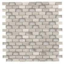 Jeffrey Court Brick Boulevard 12 in. x 11-1/4 in. Stone and Stainless Mosaic Wall Tile
