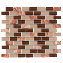 Jeffrey Court Bronze Shell Brick 12.5 in. x 10.5 in. Glass Mosaic Wall Tile