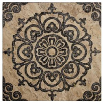Jeffrey Court Saffron Etched Panel 12 in. x 12 in. Travertine Wall Tile