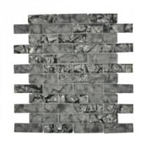 Jeffrey Court Black Magic 12 in. x 12 in. Black Glass Brick Mosaic Tile