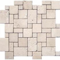 MS International 12 In. x 12 In. Ivory Mini Versaille Pattern Travertine Mosaic Floor & Wall Tile