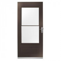 400 Series 32 in. Bronze Aluminum Self-Storing Storm Door with Nickel Hardware