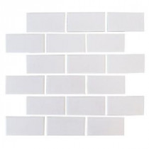 U.S. Ceramic Tile Color Collection Bright Snow White 12 in. x 12 in. Brick Mosaic Tile
