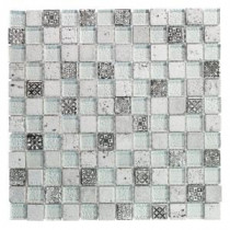 Jeffrey Court Silver Relic 11.75 in. x 11.75 in. Glass and Travertine Mosaic Wall Tile