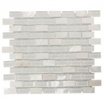 Jeffrey Court 12-1/2 in. x 10-1/2 in. Polar Cap Glass/White Marble Mosaic Wall Tile