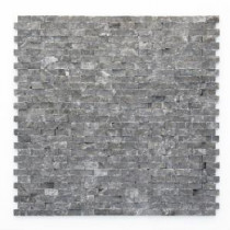 Solistone Modern Madrid 12 in. x 12 in. Black Natural Split Marble Mosaic Tile