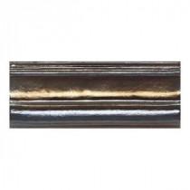 Daltile Cristallo Glass Black Opal 3 in. x 8 in. Chari Rail Glass Accent Wall Tile