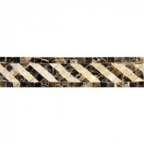 MS International Emperador 2 in. x 8 in. Polished Marble Listello Mesh-Mounted Mosaic Tile