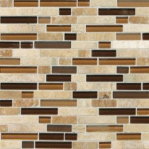 Daltile Stone Radiance Caramel Travertino 11-3/4 in. x 12-1/2 in. x 8 mm Glass and Stone Mosaic Blend Wall Tile