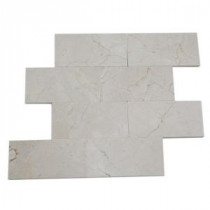 Splashback Tile Crema Marfil 3 in. x 6 in. Marble Floor and Wall Tile