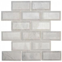 Jeffrey Court Carrara Beveled 12 in. x 12 in. Marble Mosaic Wall Tile