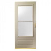 400 Series 32 in. Sandtone Aluminum Self-Storing Storm Door with Brass Hardware