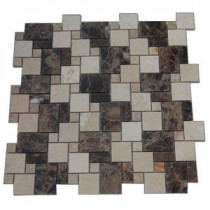 Splashback Tile Parisian Crema Marfil and Dark Emperador Blend 12 in. x 12 in. Marble Floor and Wall Tile