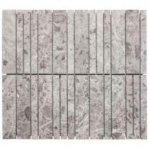 Jeffrey Court 13-3/8 in. x 12 in. Roman Sticks Grey Marble Mosaic Wall Tile