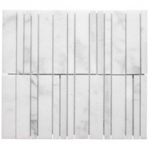 Jeffrey Court Venetian Key 13-3/8 in. x 12 in. White Marble Mosaic Wall Tile