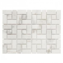 Jeffrey Court 12 in. x 12 in. Ice Blocks White Marble Mosaic Wall Tile
