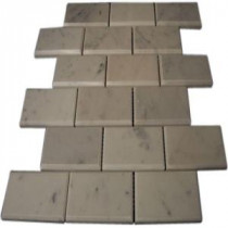 Splashback Tile Beveled 12 in. x 12 in. White Carrera Marble Floor and Wall Tile