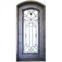 38 in. x 81 in. Copper Prehung Right-Hand Inswing Wrought Iron Single Arch Top Entry Door