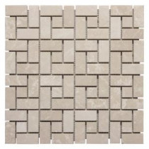 Jeffrey Court 12 in. x 12 in. Basketry Marble Mosaic Wall Tile