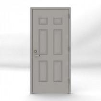 36 in. x 80 in. Gray Left-Hand 6-Panel Security Door Unit with Welded Frame