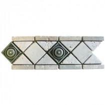 MS International Noche Chiaro Pewter Scudo 4 in. x 12 in. Travertine/Metal Listello Floor & Wall Tile (1 Ln. Ft. per