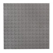 ROPPE Low Profile Circular Design Dark Gray 19.69 in. x 19.69 in. Dry Back Tile