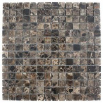 Splashback Tile Dark Emperidor Squares 12 in. x 12 in. Marble Floor and Wall Tile